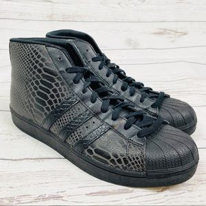 Adidas Black Leather Python High Top Sneakers